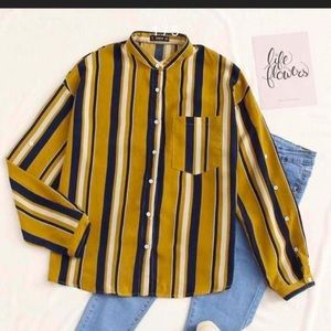 Button front pocket patched striped blouse medium